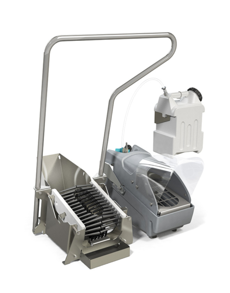 footwear sanitizing unit with boot scrubber